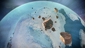 Computer visualization of fragments falling earthward, the impact creating Hiawatha Crater in Greenland.