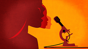 Illustration showing women speaking into a microphone.