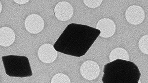 Black microcrystals rest on a surface dotted with holes 1 micron in diameter.